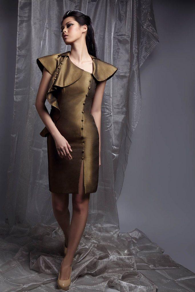 gold-knee-length-dress